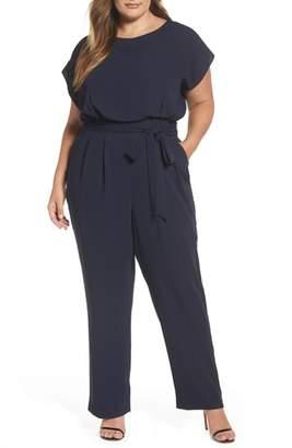 Eliza J Cap Sleeve Crepe Jumpsuit