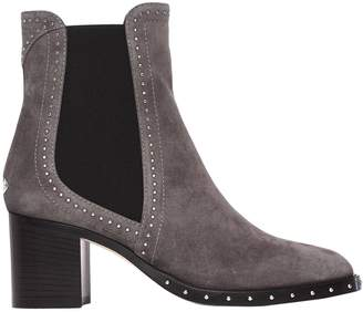 Jimmy Choo Flat Booties Suede Ankle Heeled Boot With Micro Studs