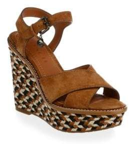 Coach Cross Band Raffia Wedge Sandal