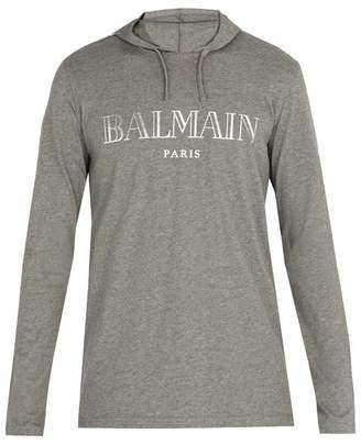 Balmain Logo Print Hooded Sweatshirt - Mens - Grey