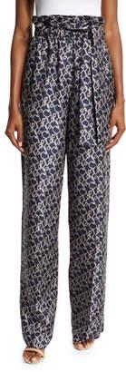 3.1 Phillip Lim Printed High-Rise Silk Wide-Leg Pants, Phantom Blue $595 thestylecure.com
