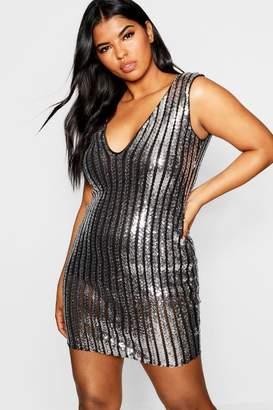 boohoo Plus Plunge Sequin Mini Dress