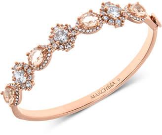 Marchesa Rose Gold-Tone Crystal & Stone Bangle Bracelet