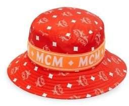 MCM Men's White Logo Nylon Bucket Collection Hat - Blue
