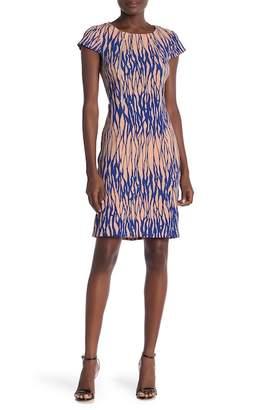 Amelia Zip Trim Textured Print Dress
