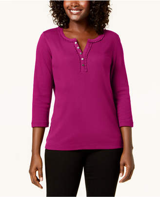 Karen Scott Cotton Ruffle-Trim Henley Top, Created for Macy's