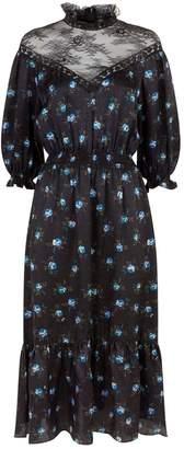 Sandro Lace Panel Floral Midi Dress