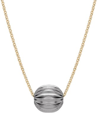 14K Gold Two-Tone Textured Bead Station Necklace