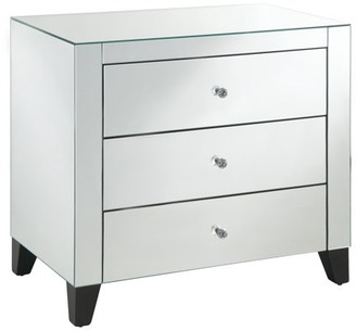 Crestview Collection Mirrored 3-Drawer Chest w/Clear Drawer Pulls, Black Legs