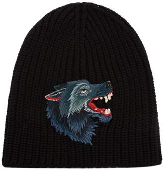 Gucci Wolf-appliqué wool beanie hat