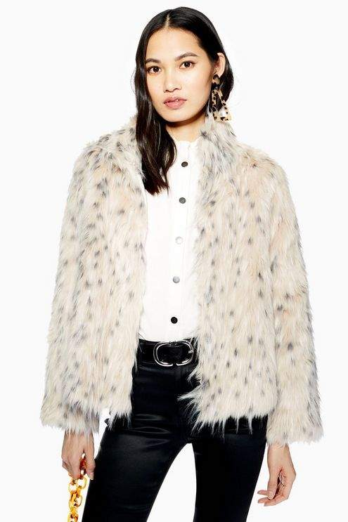 Snow Leopard Print Coat