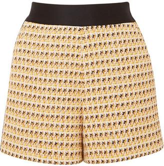 Maje Metallic Cotton-blend Tweed Shorts - Yellow