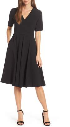 Gal Meets Glam Edith City Crepe Fit & Flare Midi Dress