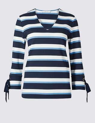 Marks and Spencer Striped V-Neck 3/4 Sleeve T-Shirt