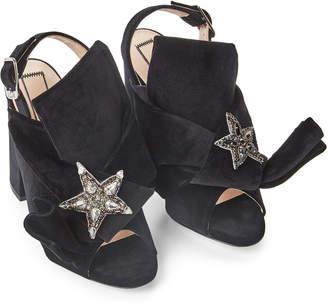No.21 No. 21 Black Embellished Velvet Block Heel Sandals