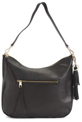 Smooth Leather Top Zip Hobo