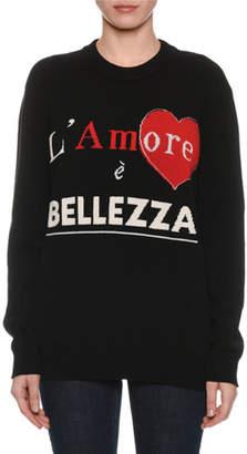 Dolce & Gabbana L'Amore e Bellezza Intarsia-Knit Cashmere Pullover Sweater