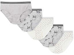 John Lewis Girls' Cheetah Print Bikini Briefs, Pack of 5, Black/White