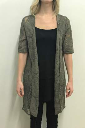 Tribal Olive Lace Cardigan
