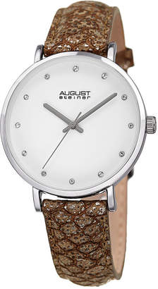 August Steiner Womens Gray Strap Watch-As-8258ss