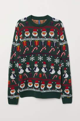 H&M Jacquard-knit Sweater - Green
