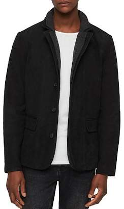 AllSaints Survey Classic Fit Layered-Collar Leather Blazer