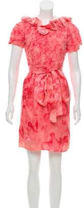 Thakoon Silk Floral-Appliqué Dress