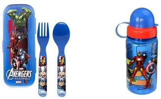 Marvel Avengers Flatware Go Pak with case and 15.5oz Water Bottle Set by