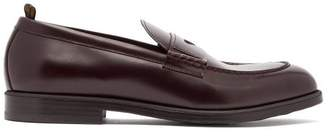 Dunhill College Leather Penny Loafers - Mens - Burgundy