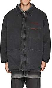 WILLY CHAVARRIA Men's Cotton Canvas Oversized Duck Jacket-Gray