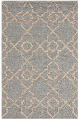 Pottery Barn Tile Wool Jute Rug - Blue Multi