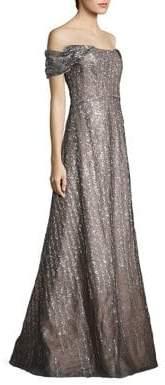 Rene Ruiz Off-The-Shoulder Sequin Gown