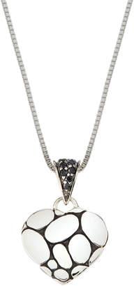 John Hardy Kali Lava Heart Pendant Necklace w/ Black Sapphires