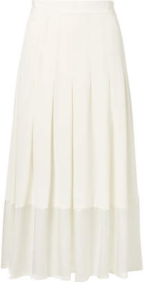 Co Pleated Satin-trimmed Crepe De Chine Skirt - Ivory