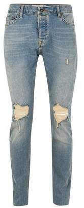 Topman Mens Blue Light Wash Blow Out Skinny Jeans