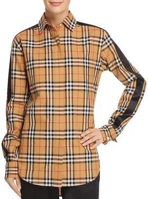 Burberry Saoirse Side-Stripe Check Print Shirt