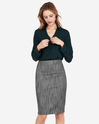Express High Waisted Marled Tweed Clean Pencil Skirt