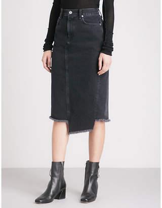 Rag & Bone Sukato stepped-hem denim skirt