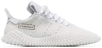 adidas white Kamanda suede low-top sneakers