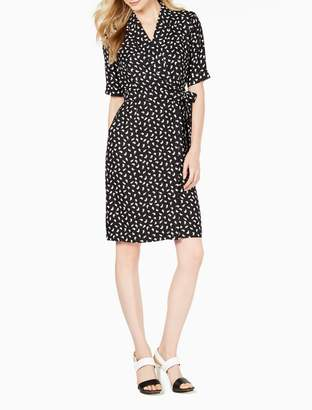Calvin Klein Printed Shawl Collar Wrap Dress