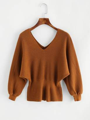 Shein V Neckline Slit Back Chunky Sweater
