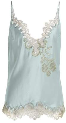 Carine Gilson V Neck Silk Satin Lace Camisole - Womens - Light Blue