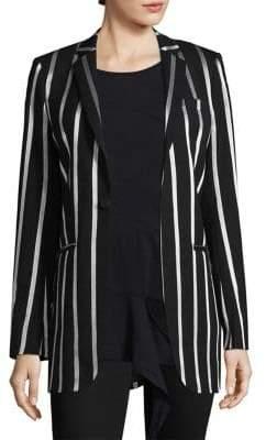 Metallic Stripe Wool-Blend Blazer