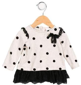Camilla Infant Girls' Lace Accented Polka Dot Top