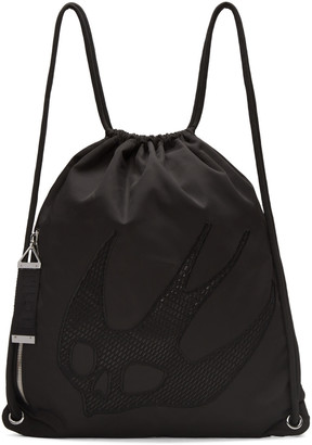 McQ Alexander McQueen Black Nylon Embroidered Rucksack $275 thestylecure.com