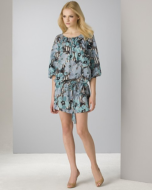 eci Quotation Women's Floral Silk Tunic Dress