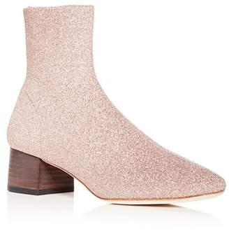 Loeffler Randall Women's Carter Glitter Knit Block Heel Booties