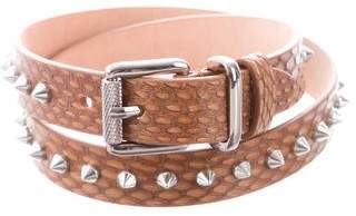 Barbara Bui Spike-Embellished Snakeskin Belt w/ Tags