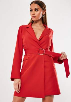 4062aad6c7919 Missguided Red O Ring Belted Bodycon Blazer Dress