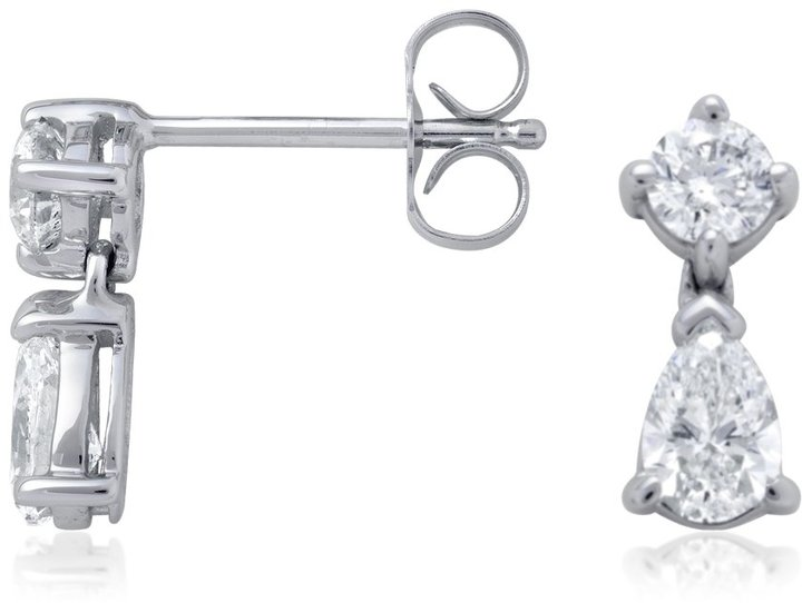 Round and Pear-Shaped Diamond Drop Earrings in 18k White Gold (1 ct. tw.)